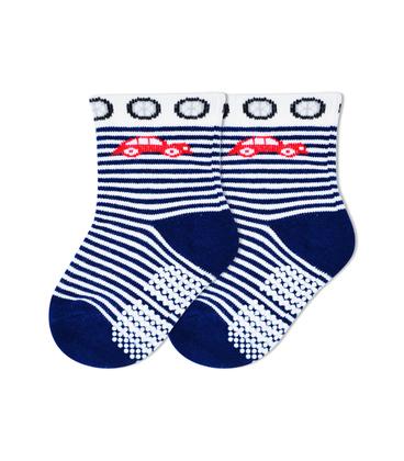 جوراب بچگانه کف استپدار طرح ماشین راه راه