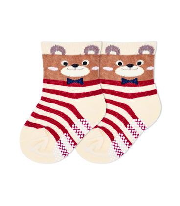 جوراب بچگانه کف استپدار طرح خرس کرم