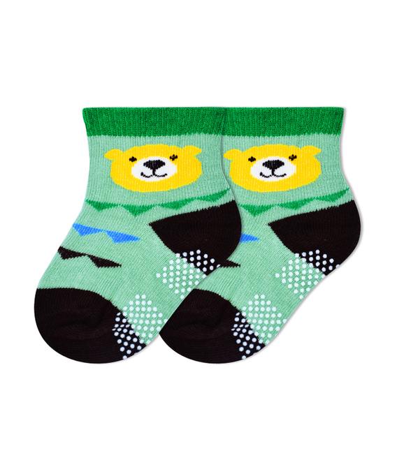 جوراب بچگانه کف استپدار طرح خرس سبز