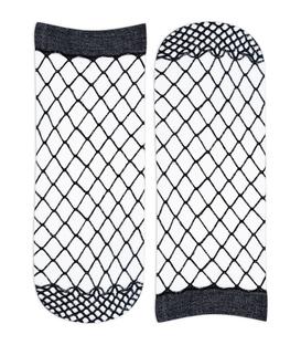جوراب مچی طرح فیش نت مشکی نقرهای