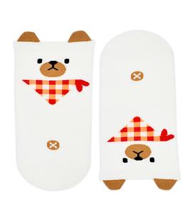 جوراب مچی گوشدار طرح خرس سفید