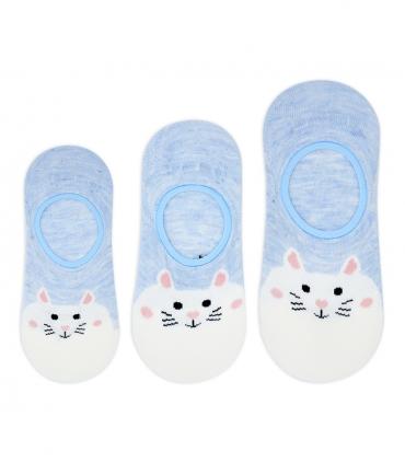 جوراب بچگانه قوزکی طرح گربه تپل آبی