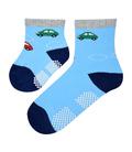 جوراب بچگانه کف استپدار طرح ماشین آبی