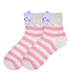 جوراب نیم ساق گوشدار طرح گربه راه راه کرم