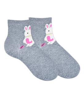 جوراب نیم ساق گوشدار طرح خرگوش پشمالو خاکستری