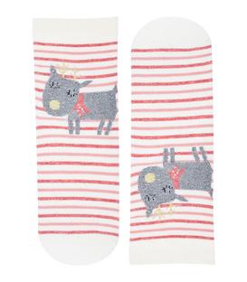 جوراب نیم ساق گوشدار طرح گوزن پشمالو شیری