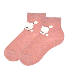 جوراب نیم ساق گوشدار طرح سگ پشمالو صورتی