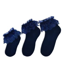 جوراب بچگانه نیم ساق طرح بالا توردار سرمهای