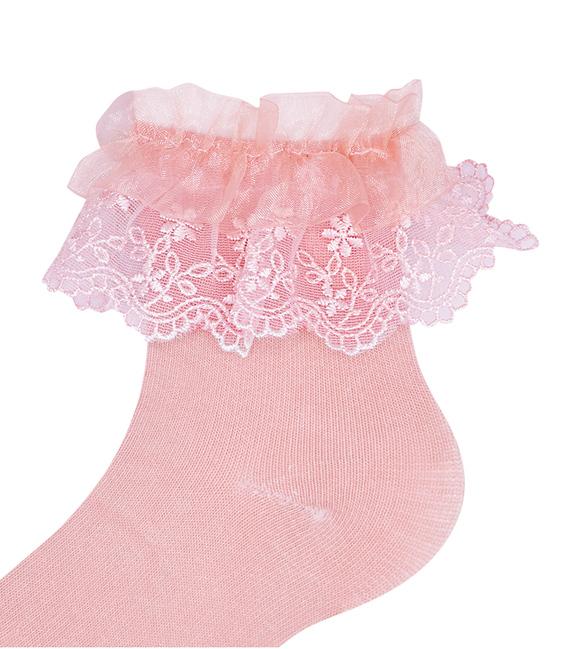 جوراب بچگانه نیم ساق طرح بالا توردار گلبهی