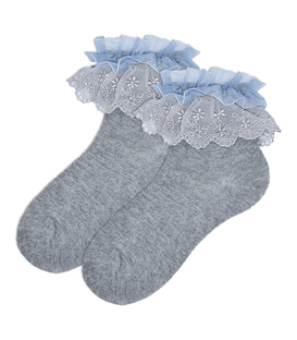 جوراب بچگانه نیم ساق طرح بالا توردار خاکستری