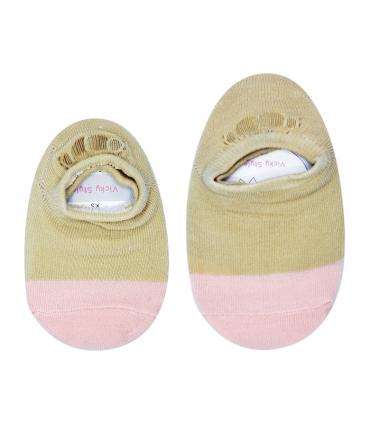 جوراب بچگانه کف استپدار پشت ژلهای دو رنگ خاکی صورتی