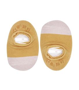 جوراب بچگانه کف استپدار پشت ژلهای دو رنگ خردلی خاکی