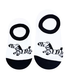 جوراب بچگانه کف استپدار طرح گورخر نیم رخ سفید