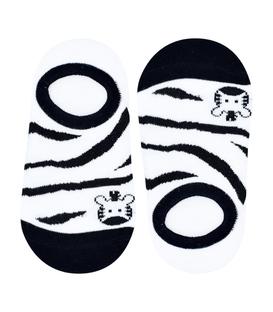 جوراب بچگانه کف استپدار طرح گورخر کوچک سفید