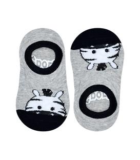 جوراب بچگانه کف استپدار طرح گورخر خاکستری