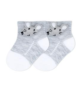 جوراب بچگانه عروسکی طرح موش خاکستری
