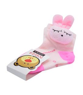 جوراب بچگانه عروسکی طرح خرگوش صورتی