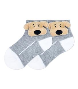 جوراب بچگانه عروسکی طرح سگ خاکستری