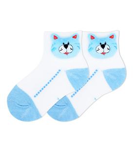 جوراب بچگانه عروسکی طرح گربه سفید آبی