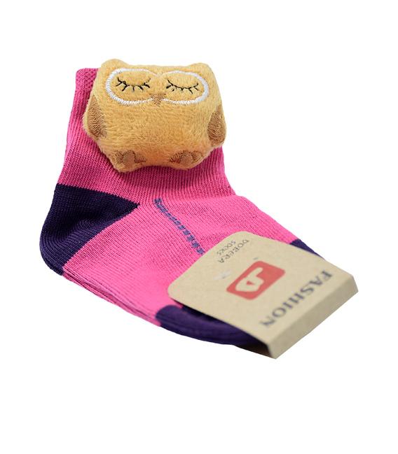 جوراب بچگانه عروسکی طرح جغد صورتی