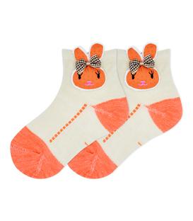 جوراب بچگانه عروسکی طرح خرگوش کرم