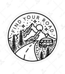 استیکر Lit Art لیت آرت طرح Find Your Road سفید