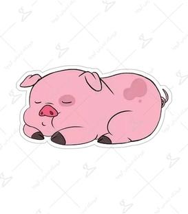 استیکر Lit Art لیت آرت طرح خوک خوابالو صورتی