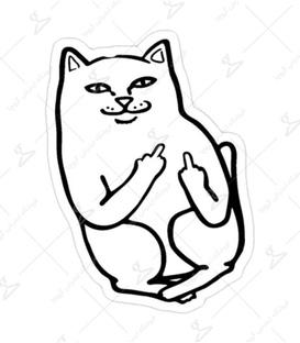 استیکر لیت آرت طرح گربه بی ادب
