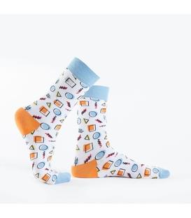 جوراب Özgür ازگور ساقدار طرح هندسی سفید
