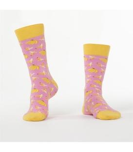جوراب Özgür ازگور ساق دار طرح موز صورتی