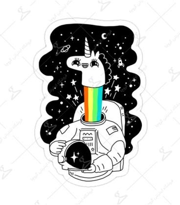 استیکر لیت آرت طرح تکشاخ فضانورد