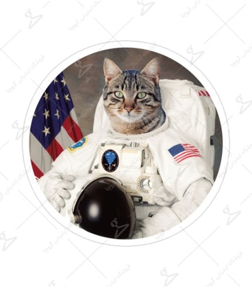 استیکر لیت آرت طرح گربه فضانورد