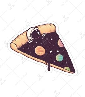 استیکر لیت آرت طرح پیتزا طعم فضانورد
