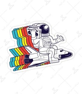 استیکر لیت آرت طرح فضانورد باحال