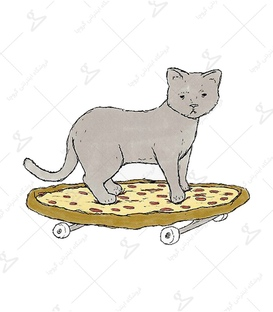 استیکر لیت آرت طرح گربه پیتزا سوار