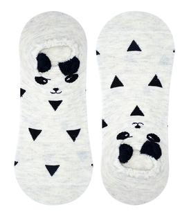 جوراب قوزکی گوشدار طرح پاندا مثلثی خاکستری