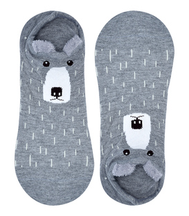 جوراب قوزکی گوشدار طرح خرس خاکستری