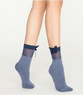 جوراب Penti پنتی نیم ساق طرح خال خالی پاپیون دار سرمهای