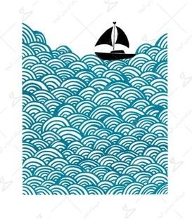 استیکر LooLoo طرح موج و قایق