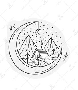 استیکر LooLoo طرح کلبه در ماه