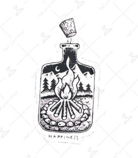 استیکر LooLoo طرح آتش در شیشه
