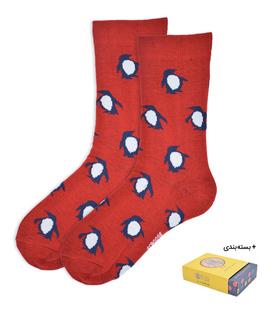 جوراب ساقدار طرح پنگوئن قرمز