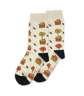 جوراب ساق دار نانو پاتریس طرح کلبه پاییزی کرم