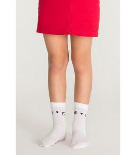 جوراب بچگانه Penti پنتی کف استپ دار طرح گربه سفید