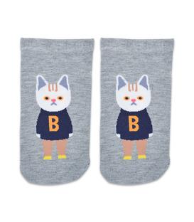 جوراب مچی طرح گربه دانش آموز خاکستری