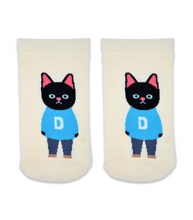 جوراب مچی طرح گربه دانش آموز کرم
