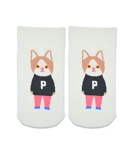 جوراب مچی طرح گربه دانش آموز شیری