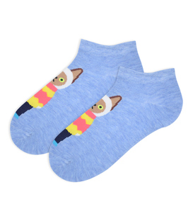 جوراب مچی طرح گربه دانش آموز آبی