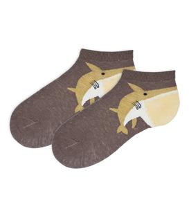 جوراب بچگانه مچی طرح کوسه قهوهای