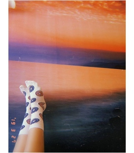 جوراب ساق دار Chetic طرح دونات سفید